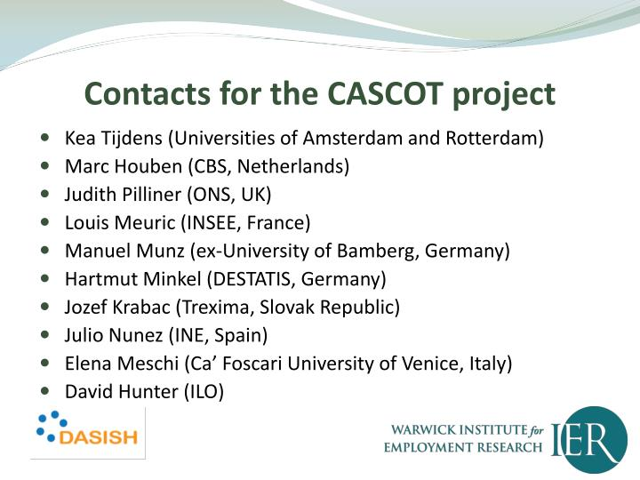 Contacts for the CASCOT project
