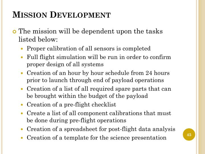 Mission Development