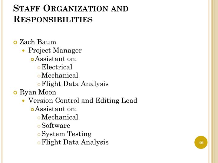 Staff Organization and Responsibilities