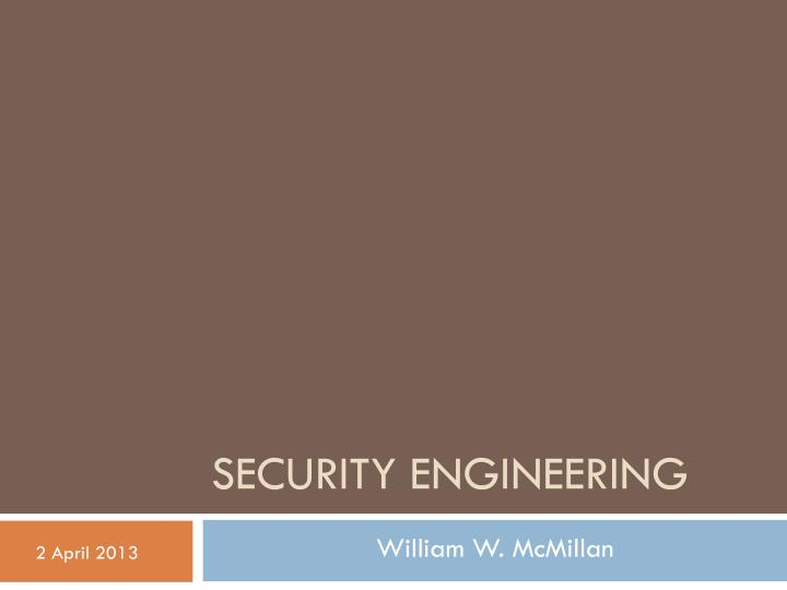 Security engineering