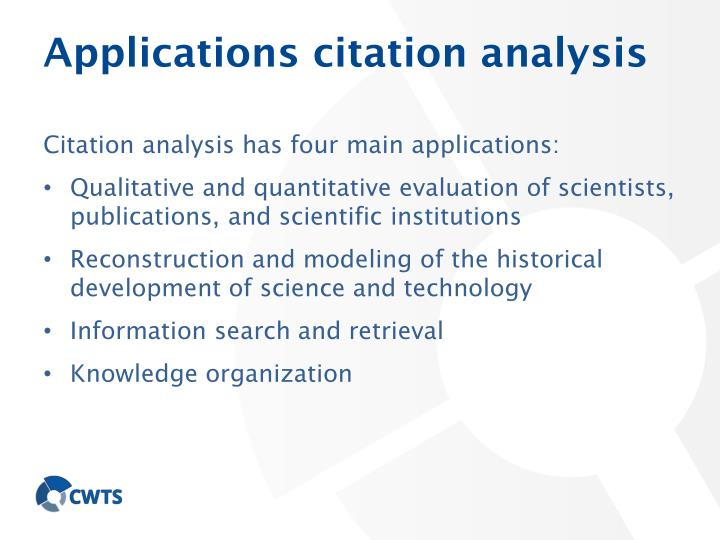 Applications citation analysis