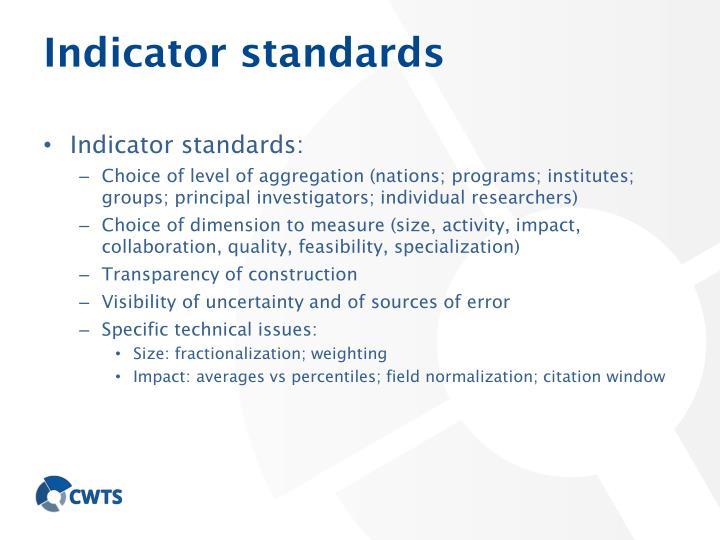 Indicator standards