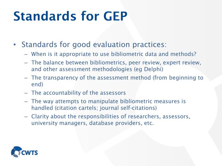 Standards for GEP