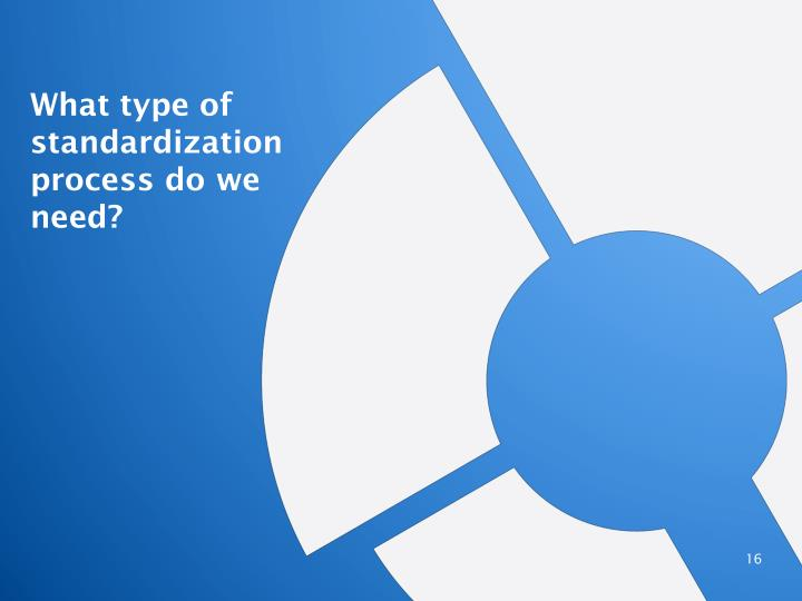 What type of standardization process do we need?