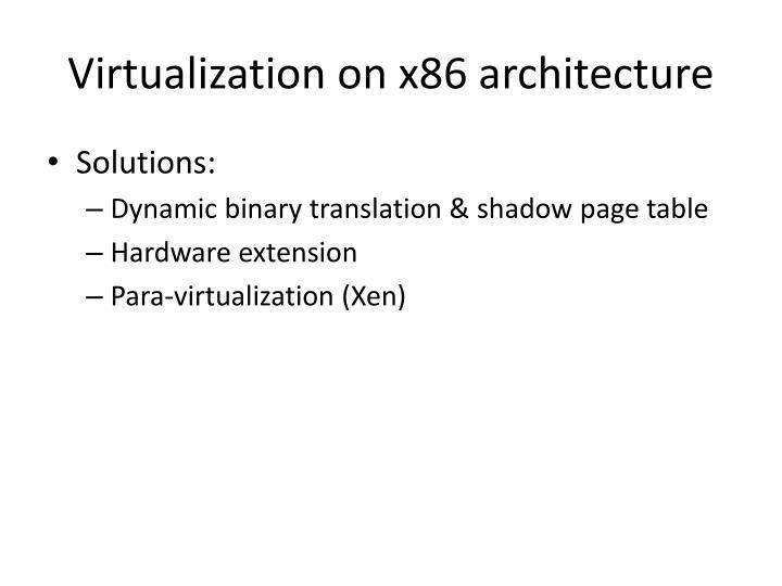 Virtualization on x86 architecture