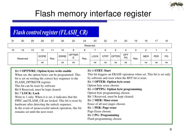 Flash memory interface register