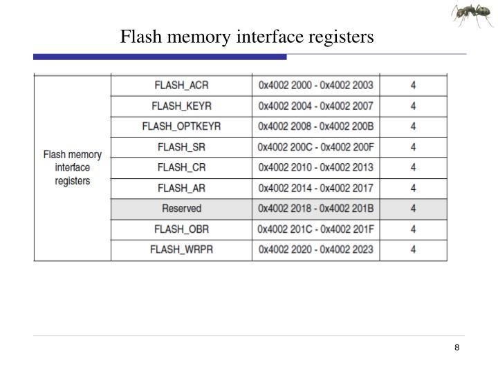 Flash memory interface registers