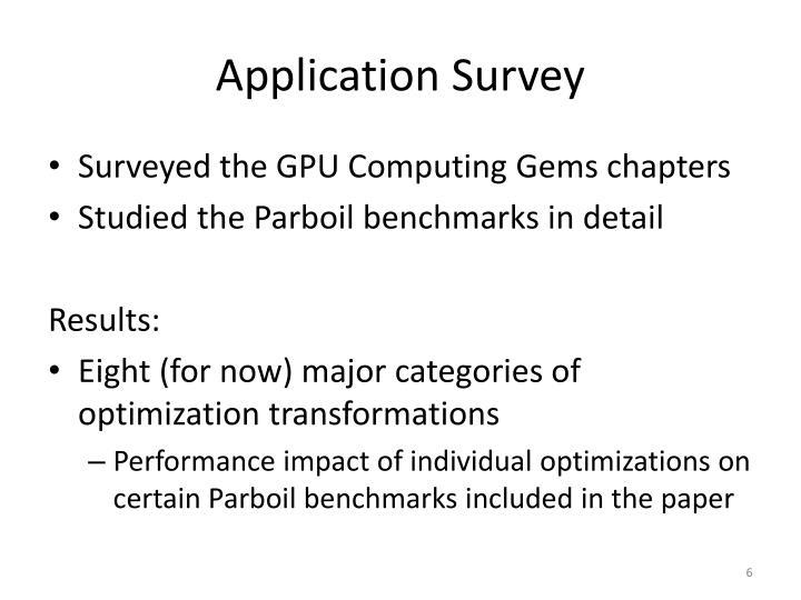 Application Survey