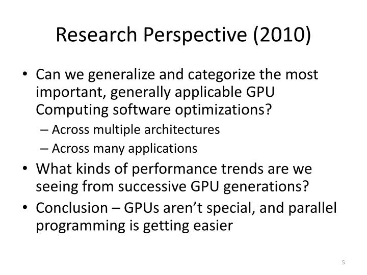 Research Perspective (2010)