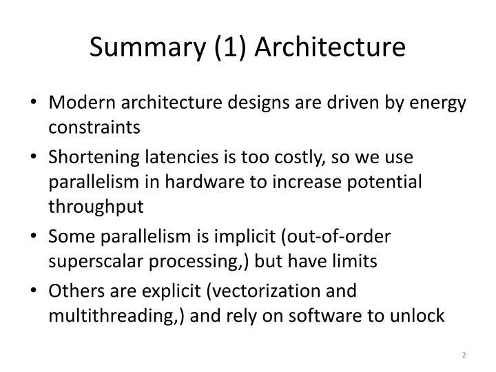 Summary (1) Architecture