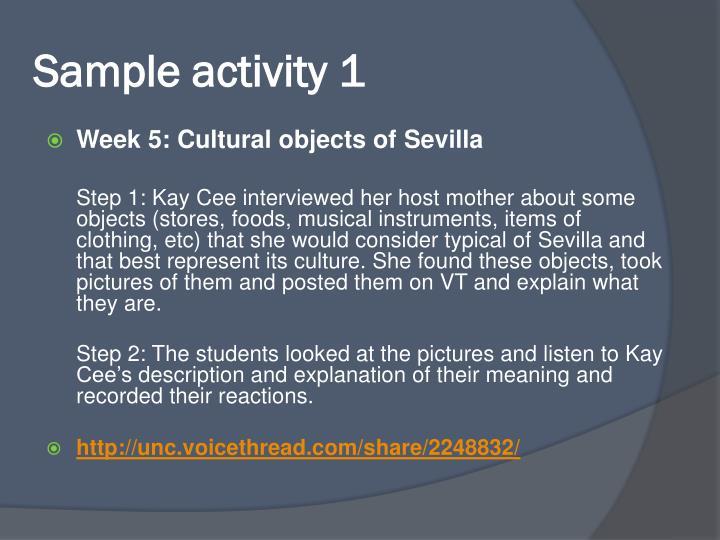 Sample activity 1