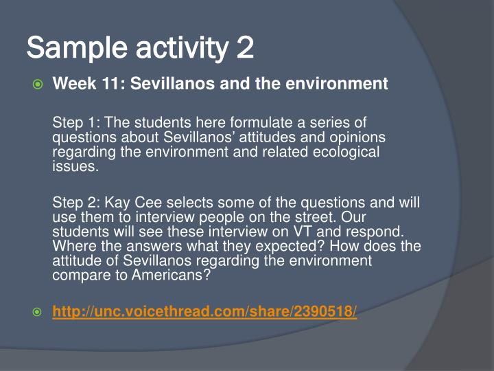 Sample activity 2