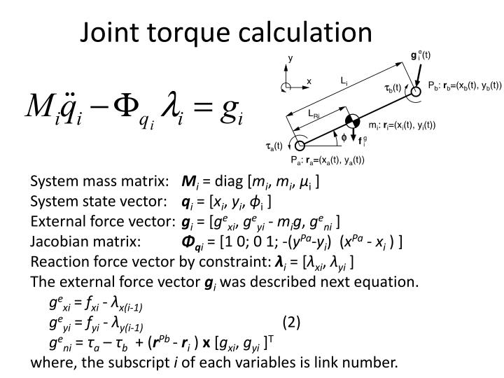 Joint torque calculation