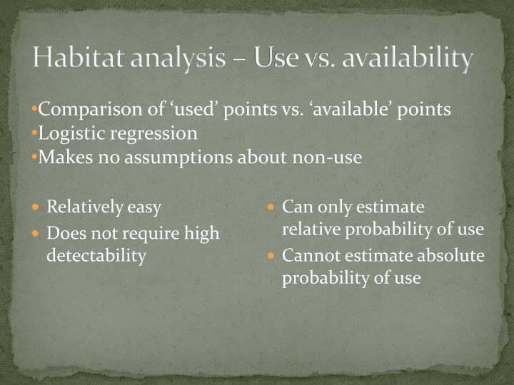 Habitat analysis – Use vs. availability