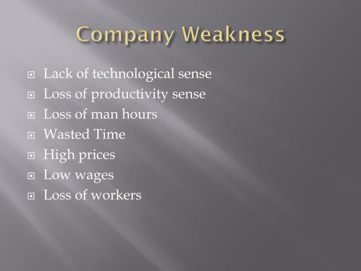 Company Weakness