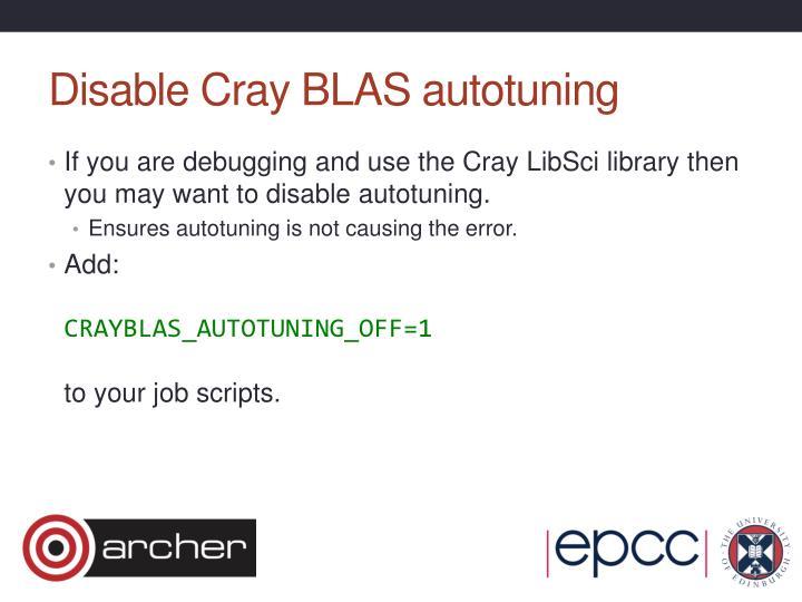 Disable Cray BLAS