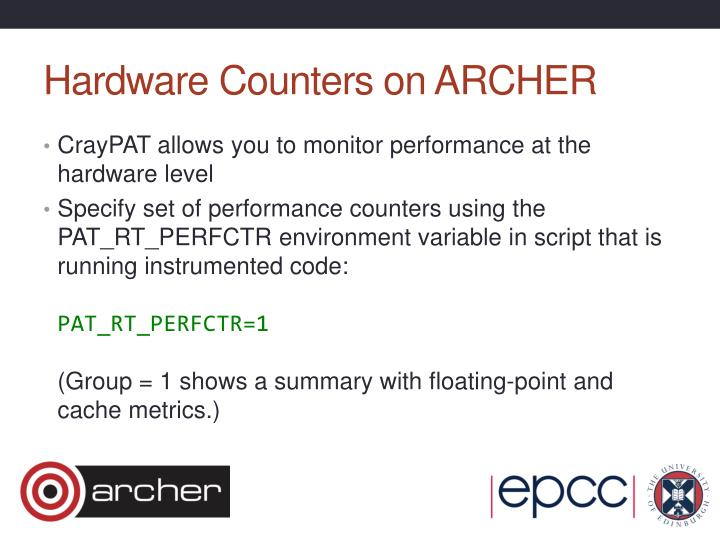 Hardware Counters on ARCHER