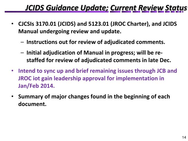 JCIDS Guidance Update; Current