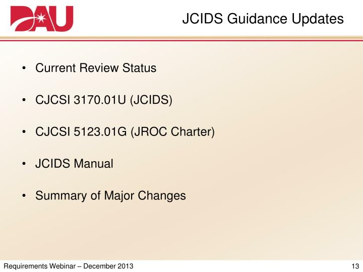 JCIDS Guidance Updates