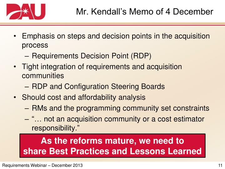 Mr. Kendall's Memo of 4 December