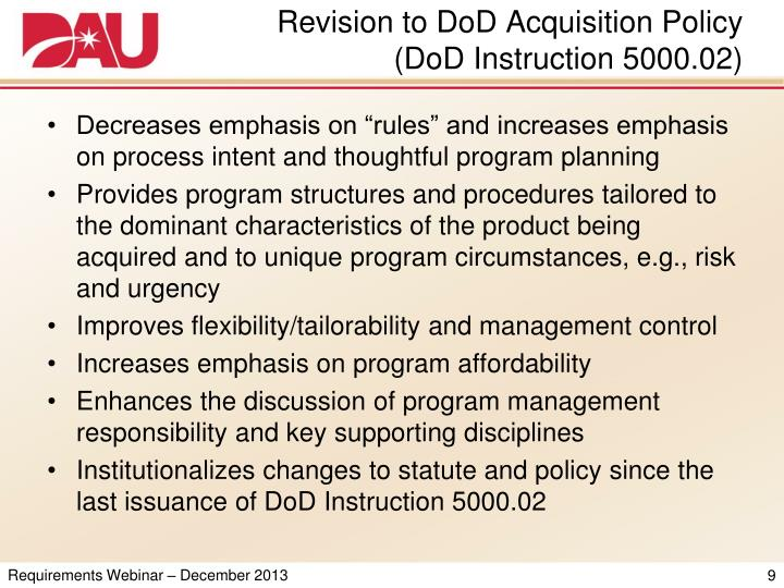 Revision to DoD Acquisition Policy