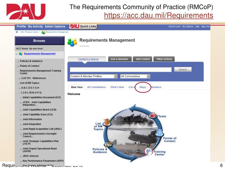 The Requirements Community of Practice (RMCoP)