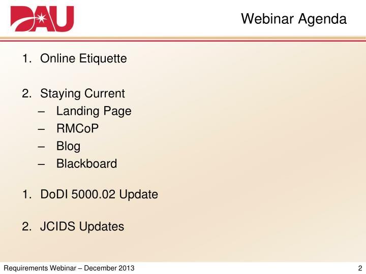 Webinar Agenda