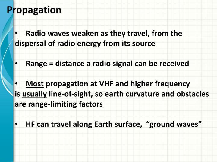 Radio waves weaken as they travel, from the