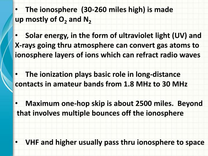 The ionosphere  (30-260 miles high)