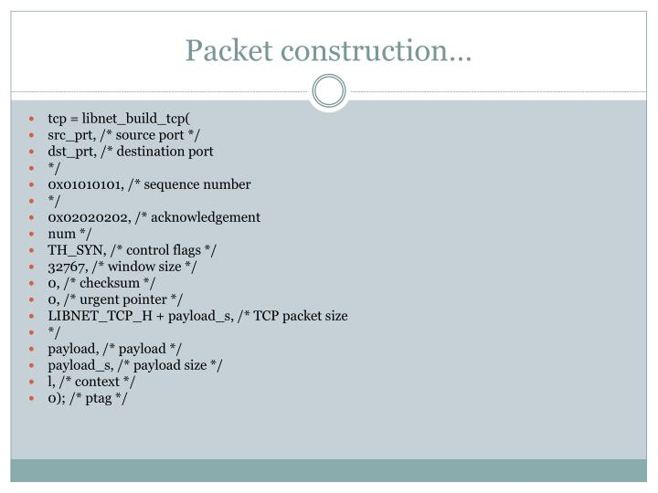 Packet construction…