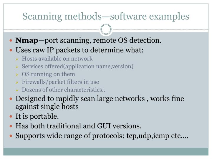 Scanning methods—software examples