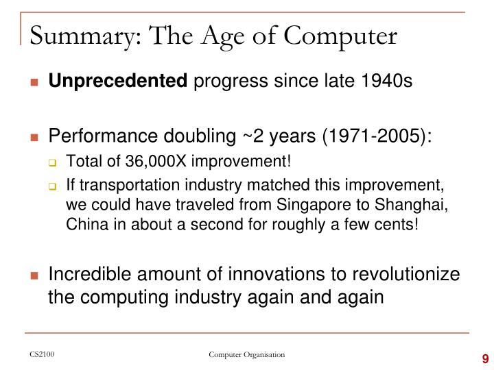 Summary: The Age of Computer