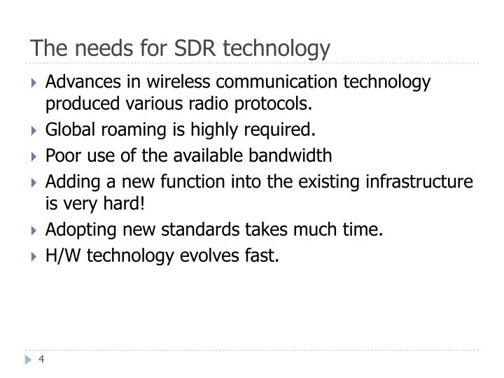 The needs for SDR technology