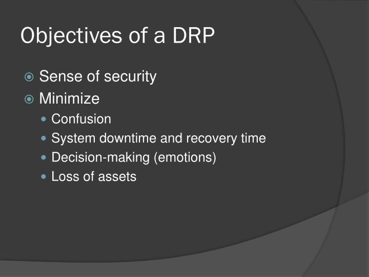 Objectives of a DRP