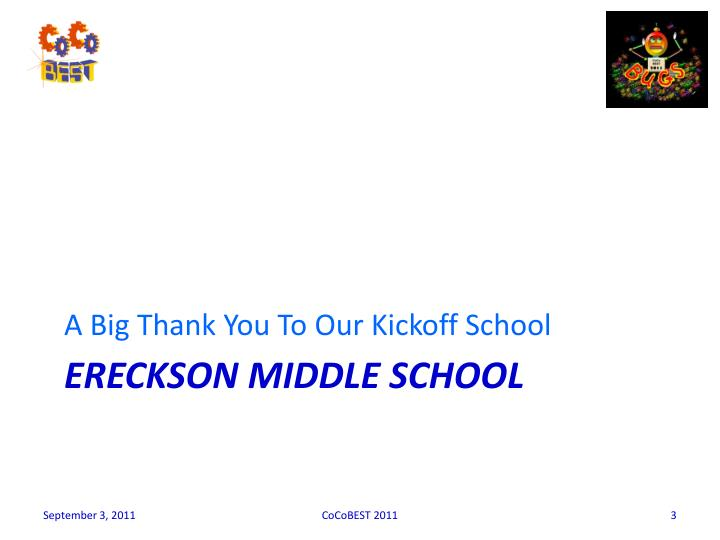 A Big Thank You To Our Kickoff School
