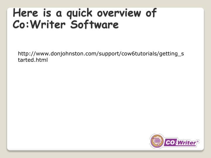 Here is a quick overview of Co:Writer Software