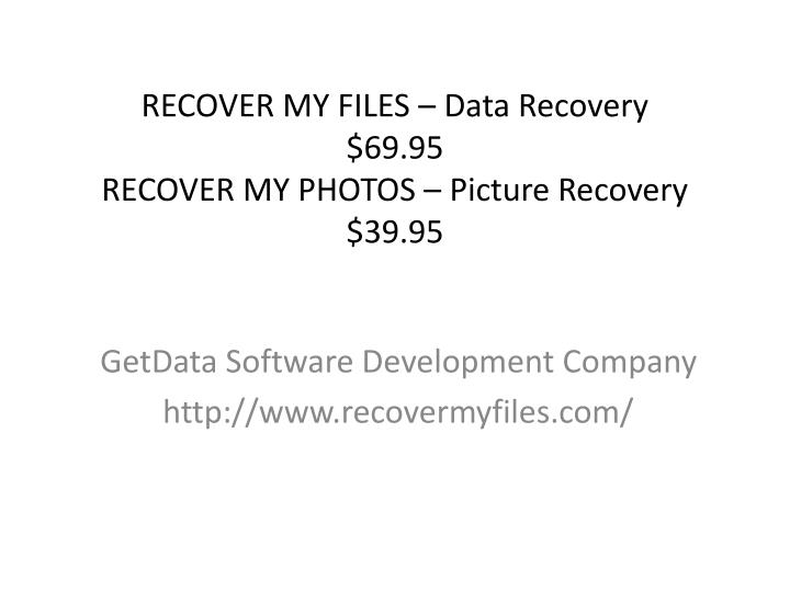 RECOVER MY FILES – Data Recovery