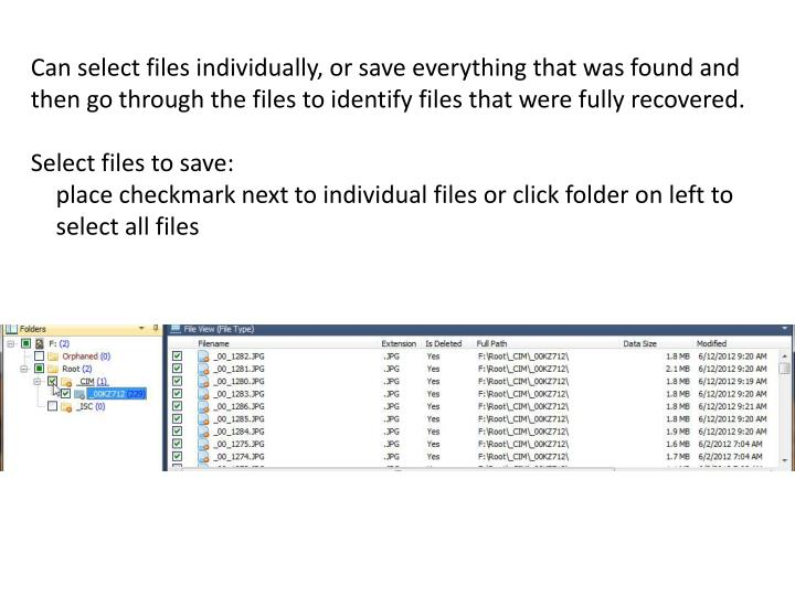 Can select files individually, or save everything that was found and then go through the files to identify files that were fully recovered.