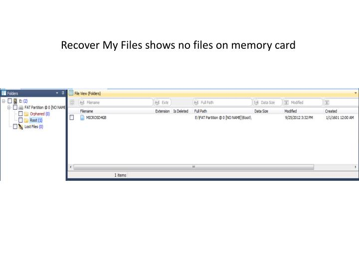 Recover My Files shows no files on memory card