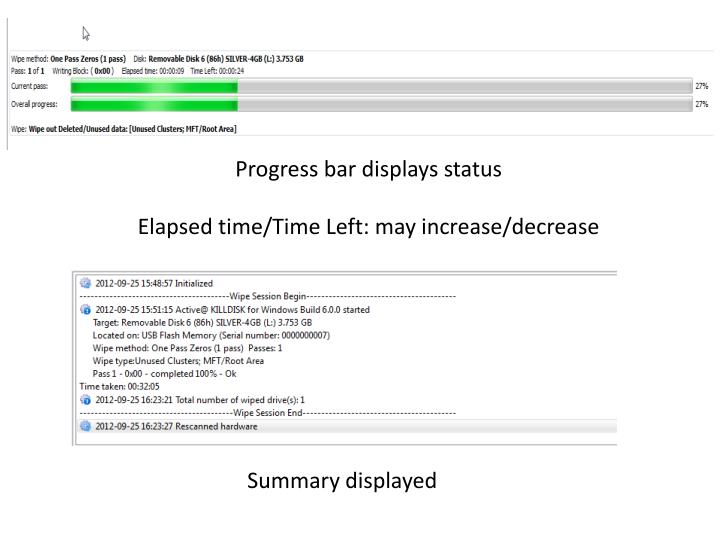 Progress bar displays status