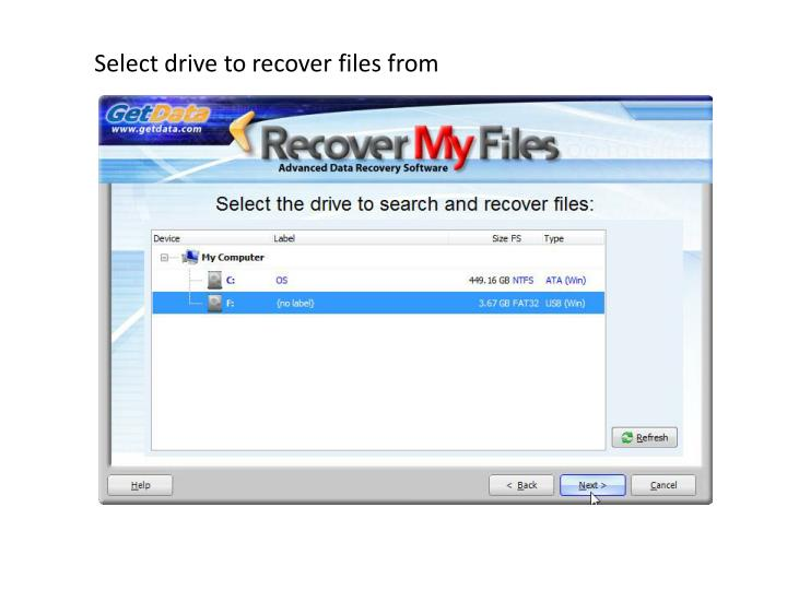 Select drive to recover files from