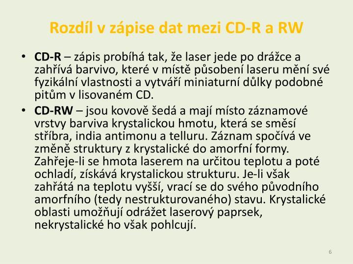 Rozdíl v zápise dat mezi CD-R a RW