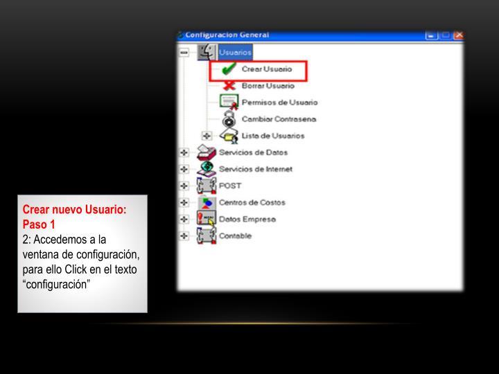 Crear nuevo Usuario: Paso 1