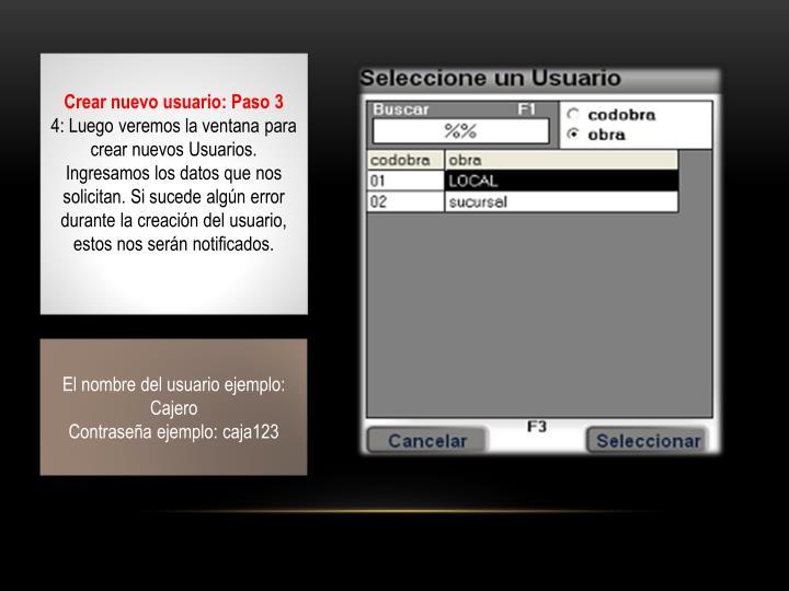 Crear nuevo usuario: Paso 3