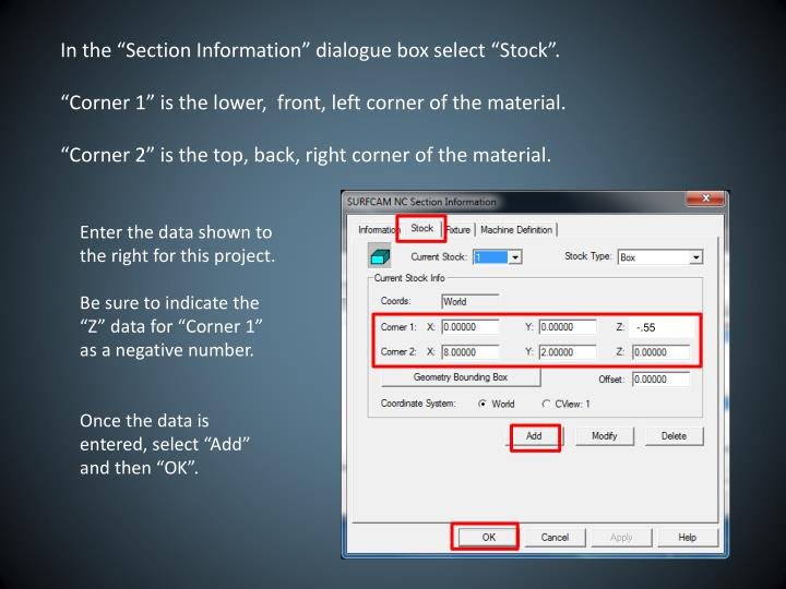 In the Section Information dialogue box select Stock.
