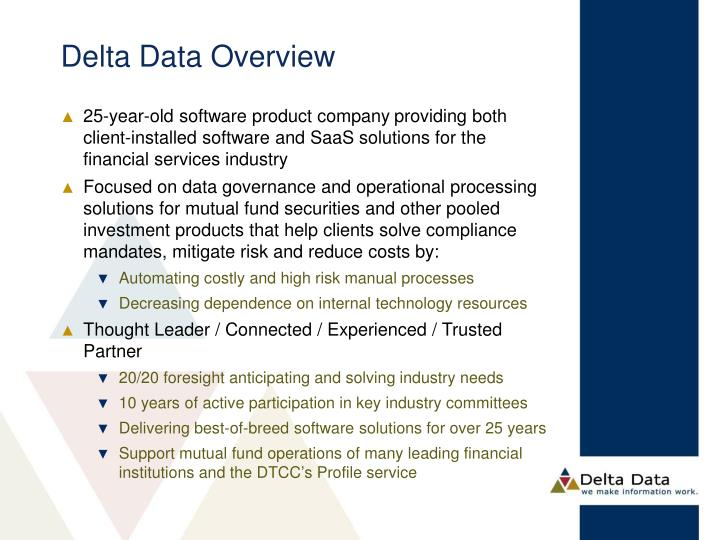 Delta Data Overview