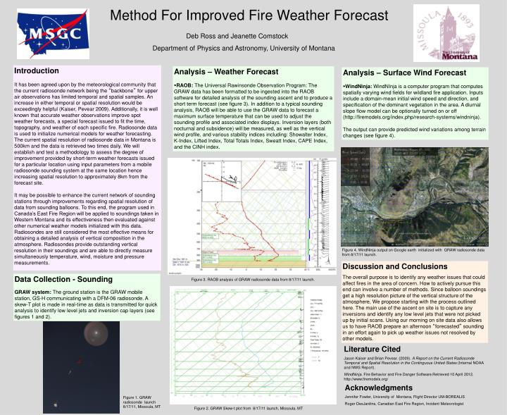 Method For Improved Fire Weather Forecast