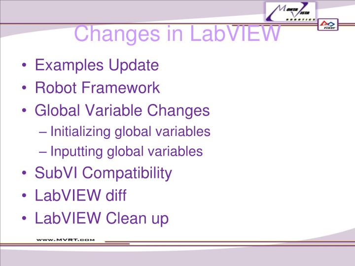 Changes in LabVIEW