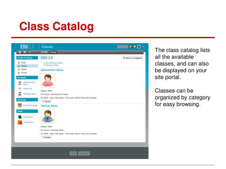 Class Catalog