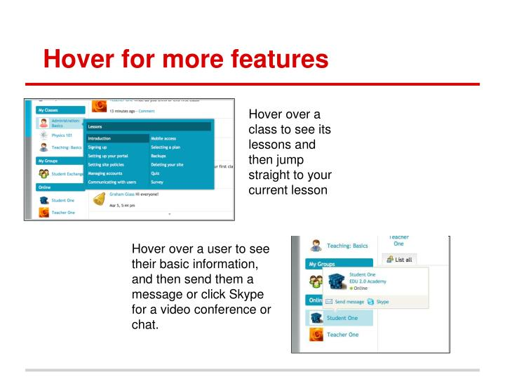 Hover for more features